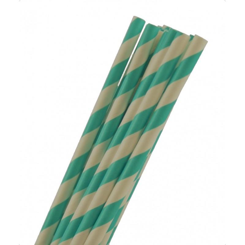 Papieren rietjes aqua gestreept