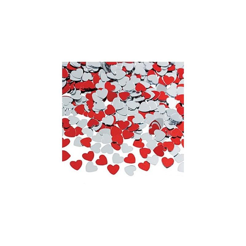Confetti silver and red hearts
