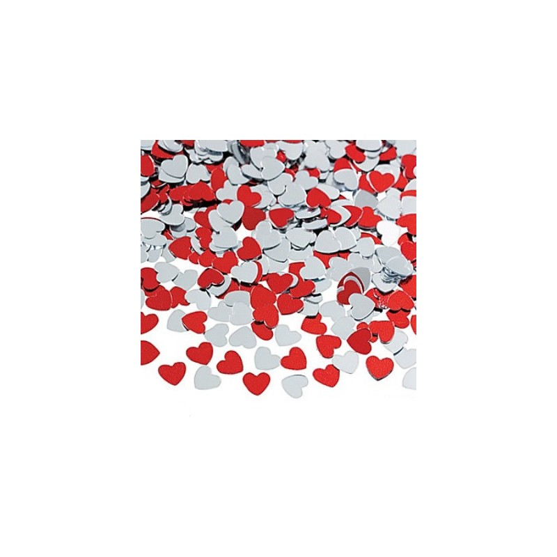 Rode en zilveren hart confetti