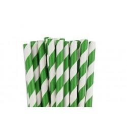 Papieren rietjes groen gestreept
