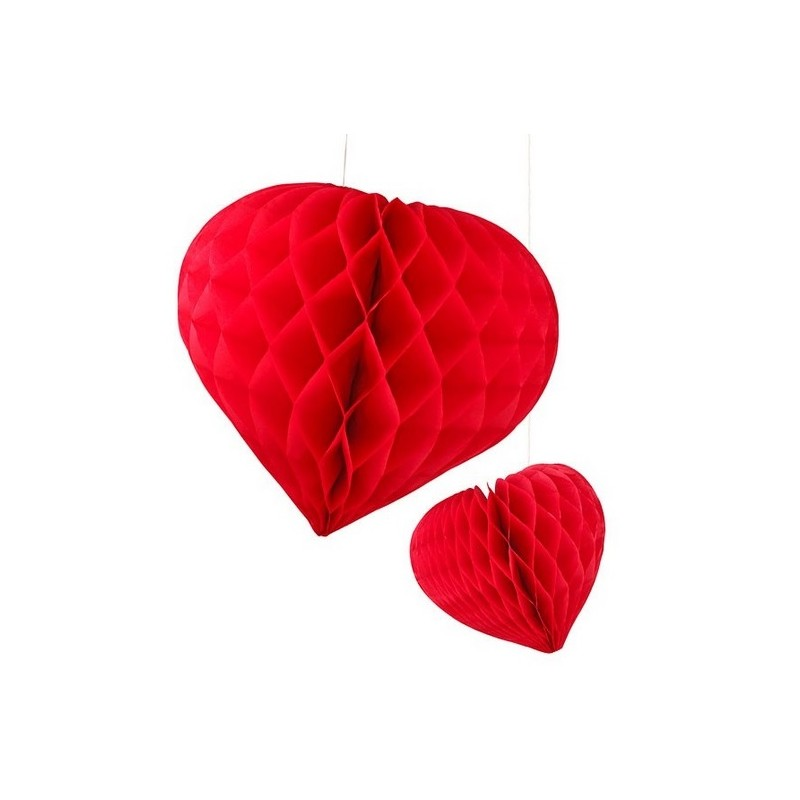 Honeycomb heart red