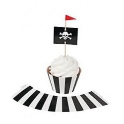 Cupcake wrappers zwart/wit gestreept