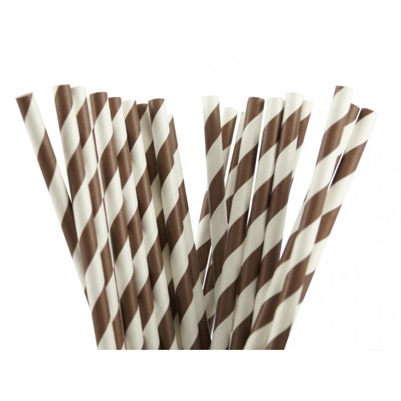 Papieren rietjes bruin gestreept