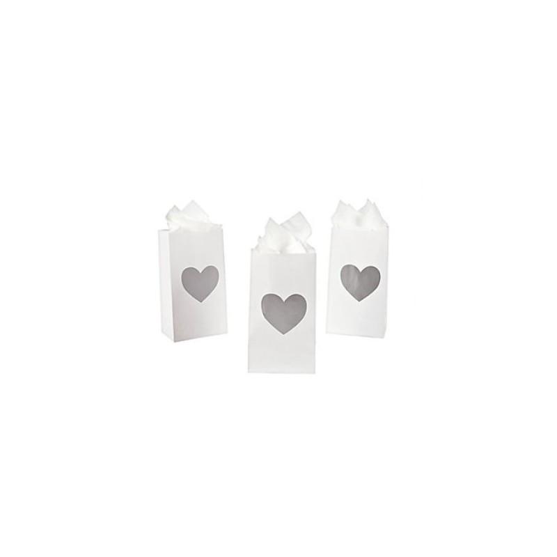 Uitdeelzakjes zilveren hart