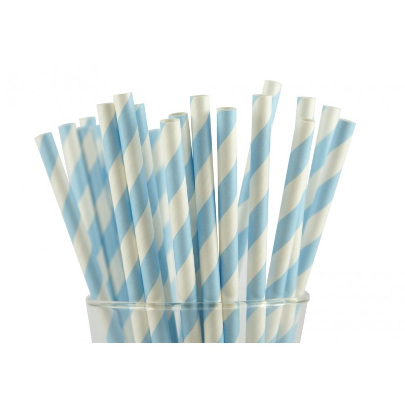 Papieren rietjes lichtblauw gestreept @joyenco.nl