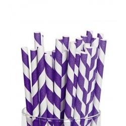 Paper straws purple striped