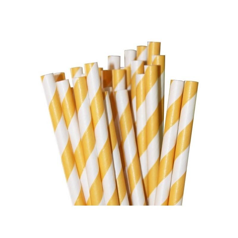 Papieren rietjes geel gestreept