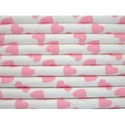 Papieren rietjes roze hartjes