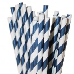 Papieren rietjes marineblauw gestreept