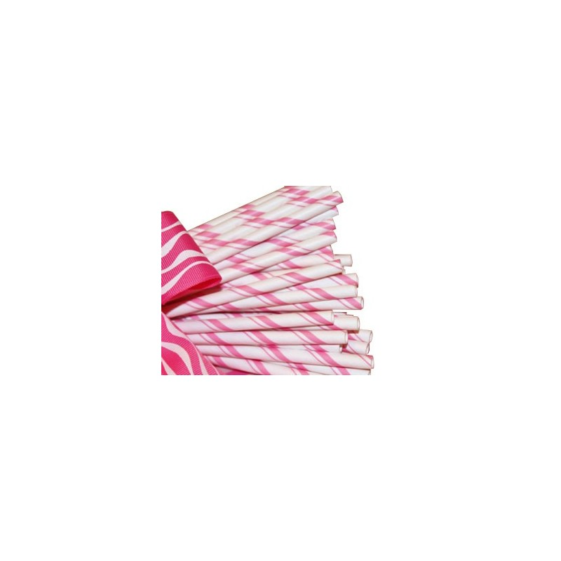 Papieren rietjes roze dubbel gestreept