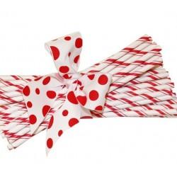 Papieren rietjes rood dubbel gestreept