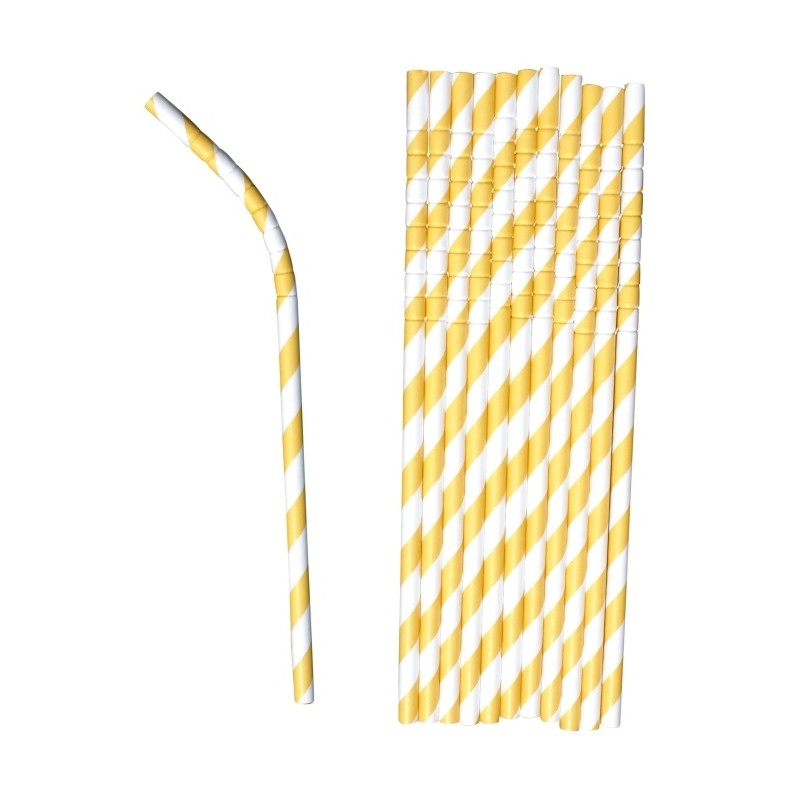 Buigbare papieren rietjes geel gestreept