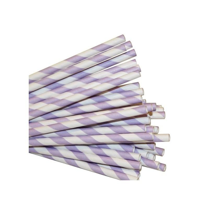 Papieren rietjes lila gestreept