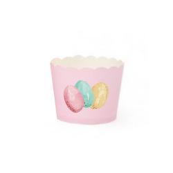 Paascupcake bakjes roze met eieren
