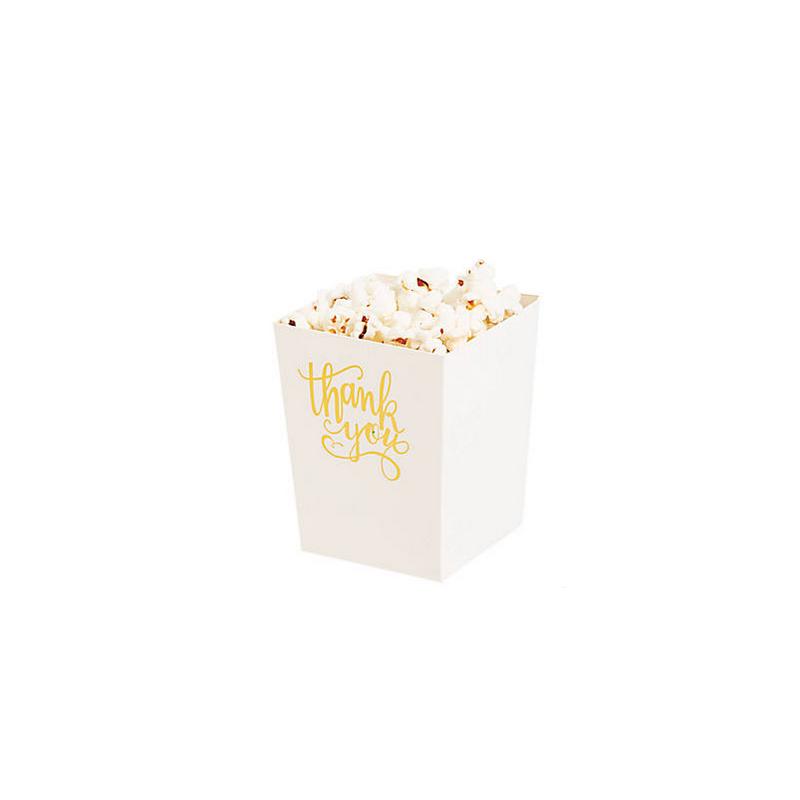Mini popcorn boxes white with golden text 'Thank you' @joyenco.nl