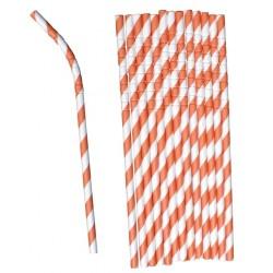 Bendable paper straws orange striped