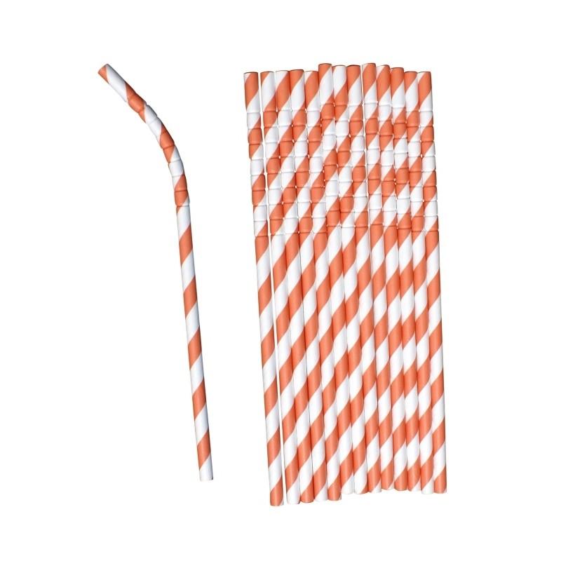 Buigbare papieren rietjes oranje gestreept