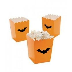 Kleine popcorn bakjes oranje met vleermuis @joyenco.nl