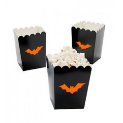 Kleine popcorn bakjes zwart met oranje vleermuis @joyenco.nl