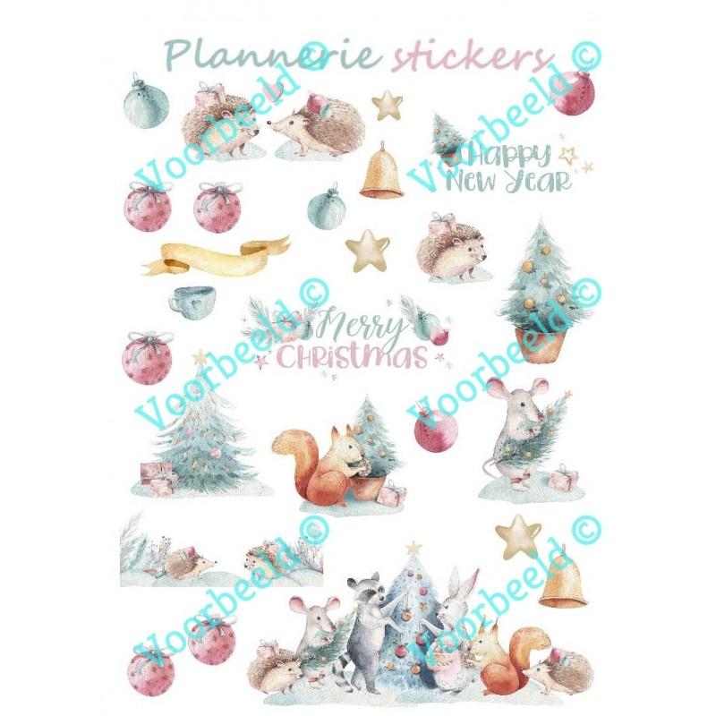 Kerst Bosfeest stickervel A5 @joyenco.nl