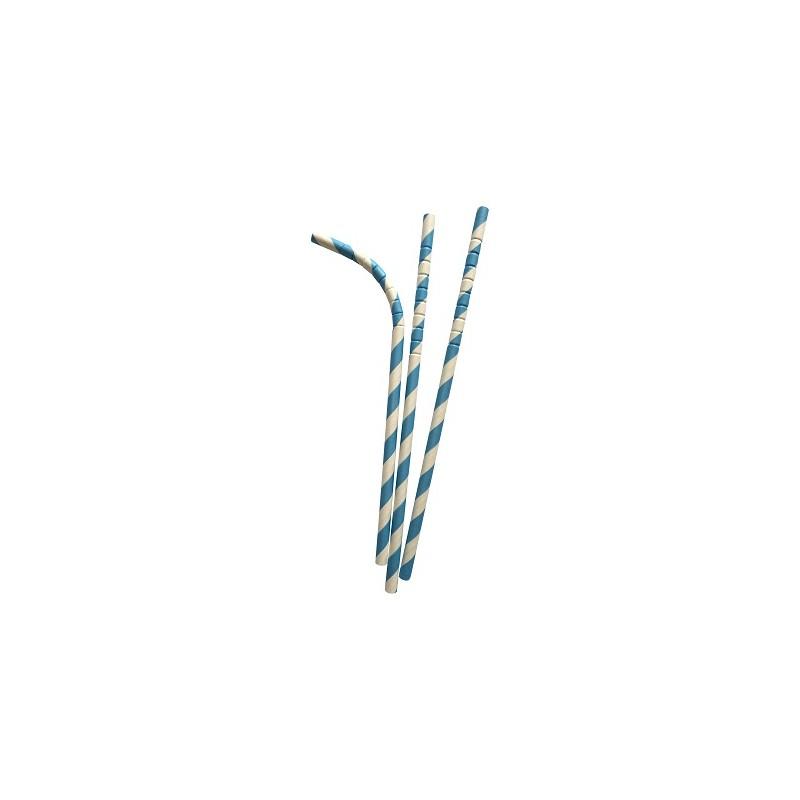 Buigbare papieren rietjes blauw gestreept