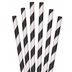 Papieren milkshakerietjes zwart gestreept @joyenco