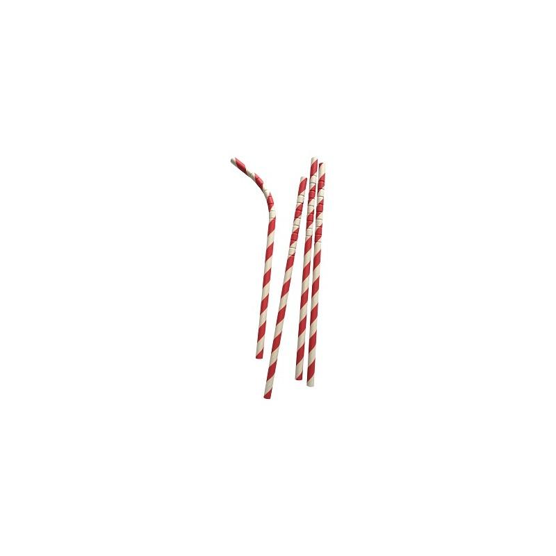 Buigbare papieren rietjes rood gestreept
