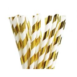 Papieren rietjes goud gestreept @joyenco.nl