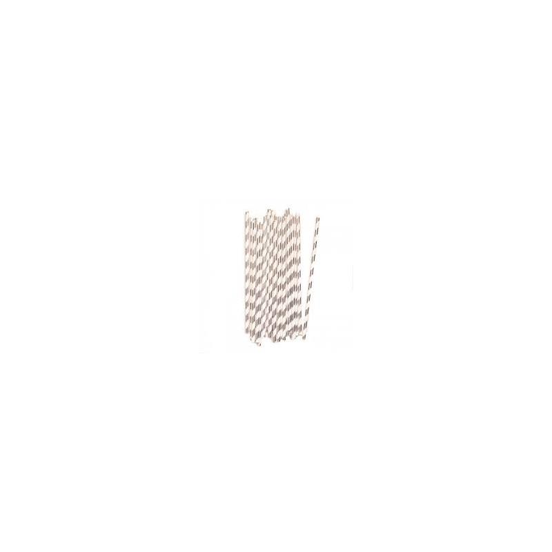 Paper straws silver foil striped