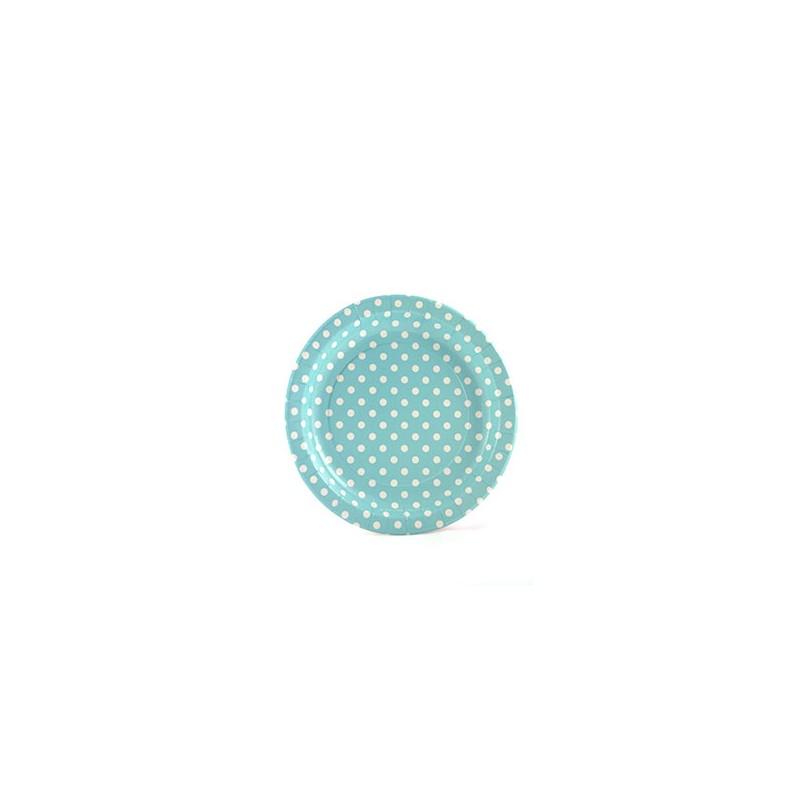 Lichtblauwe papieren bordjes wit gestippeld