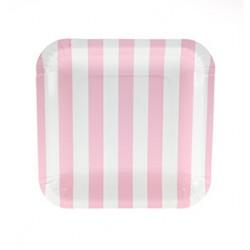 Vierkante papieren bordjes babyroze/wit gestreept
