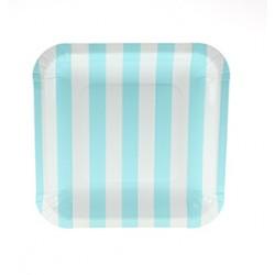 Square paper plates light blue striped