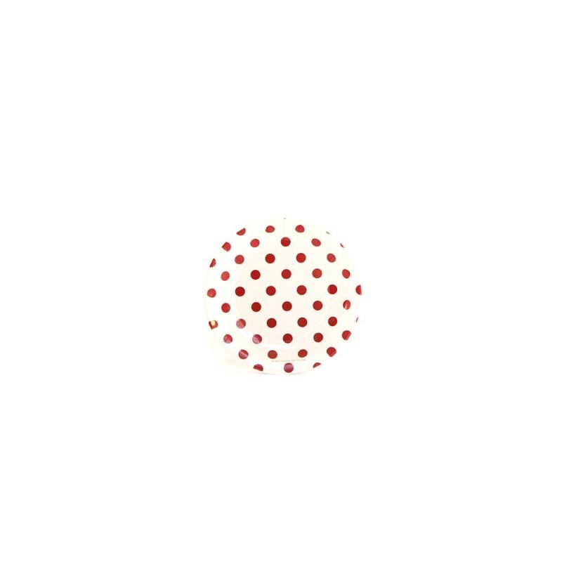Papieren cakebordjes wit/rood gestippeld