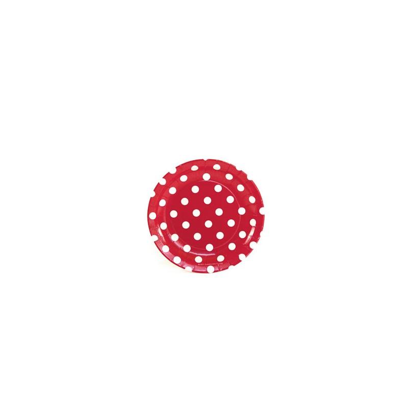 Papieren cakebordjes rood/wit gestippeld