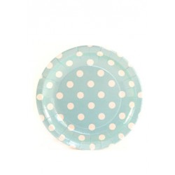 Paper cakeplates light blue with white dots