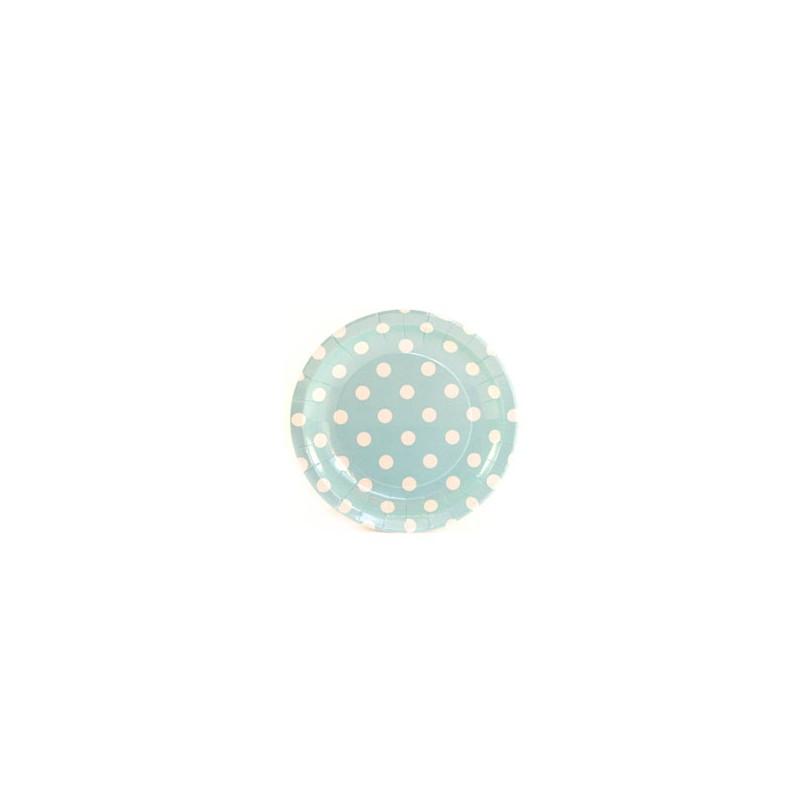 Papieren cakebordjes lichtblauw/wit gestippeld