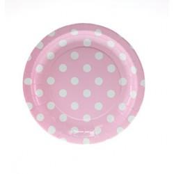 Papieren cakebordjes roze/wit gestippeld