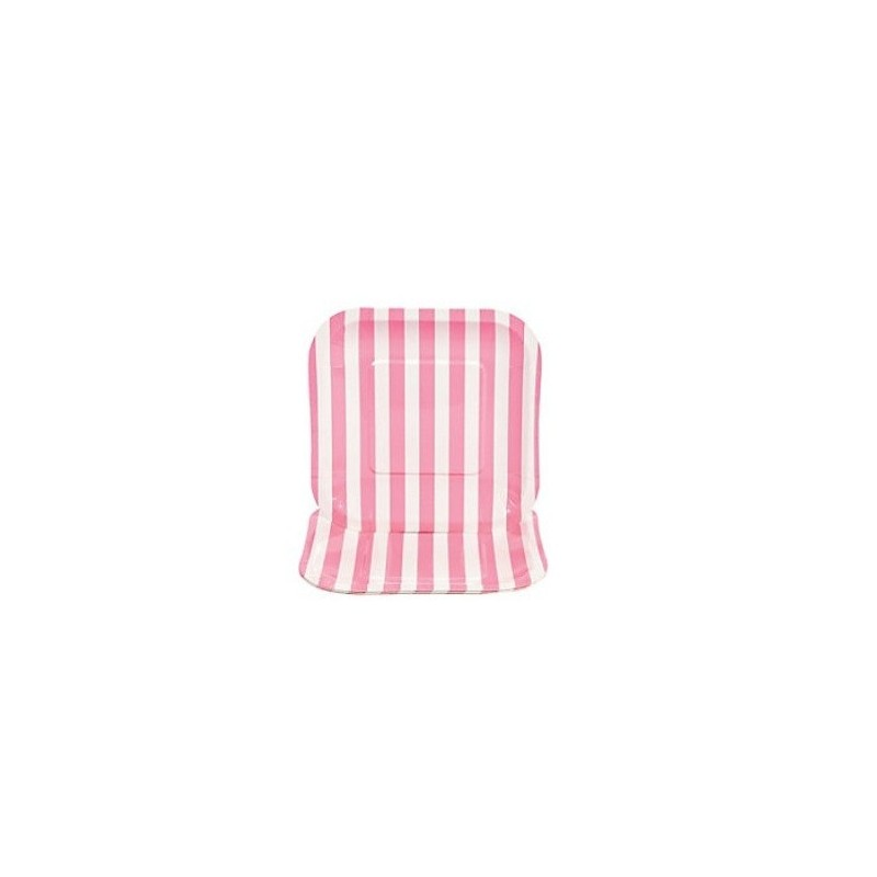 Vierkante papieren bordjes roze gestreept