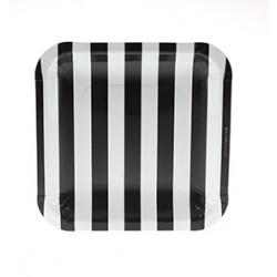 Vierkante papieren bordjes zwart gestreept