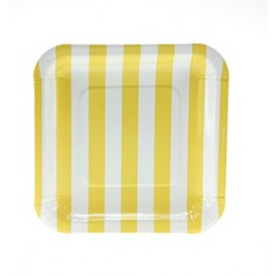 Square paper plates yellow striped