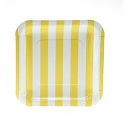 Vierkante papieren bordjes geel gestreept