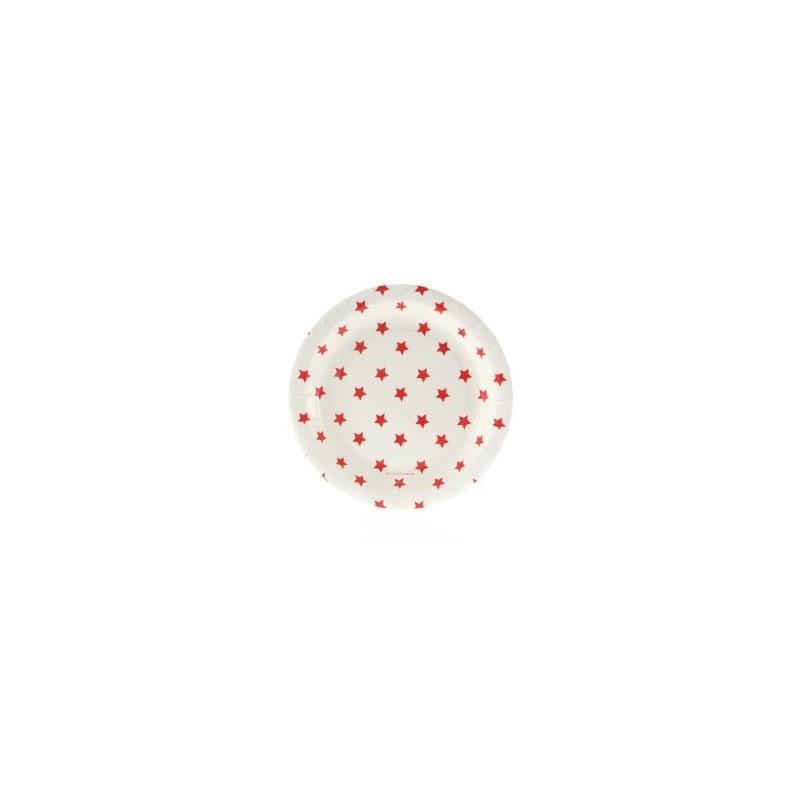 Papieren cakebordjes wit met rode sterren