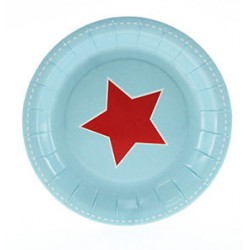 Paper cakeplates light blue with red star