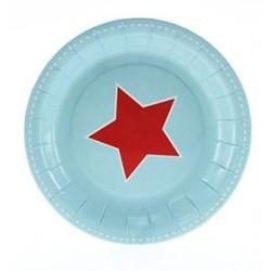 Papieren cakebordjes lichtblauw met rode ster