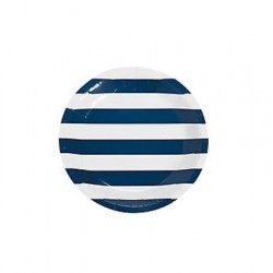Paper cakeplates navy blue striped