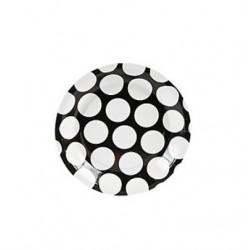 Papieren cakebordjes zwart met grote witte stip