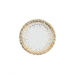 Papieren cakebordjes wit met goud