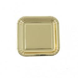 Square paper plates gold foil