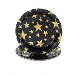 Black paper plates with golden stars