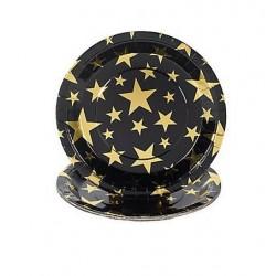 Zwarte kartonnen bordjes met gouden sterren